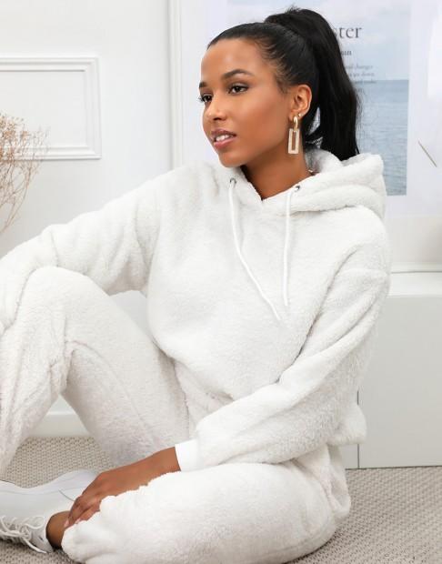 Sweatshirt en fausse fourrure à capuche