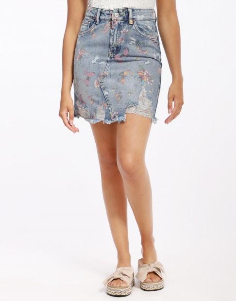 jupe en jeans imprimé fleuri