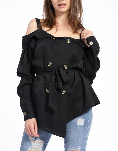 Chemise noire à épaules dénudées