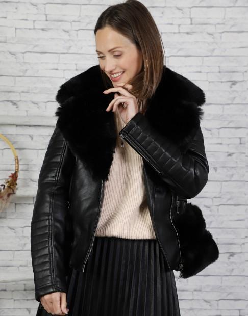 Manteau similicuir col fourrure