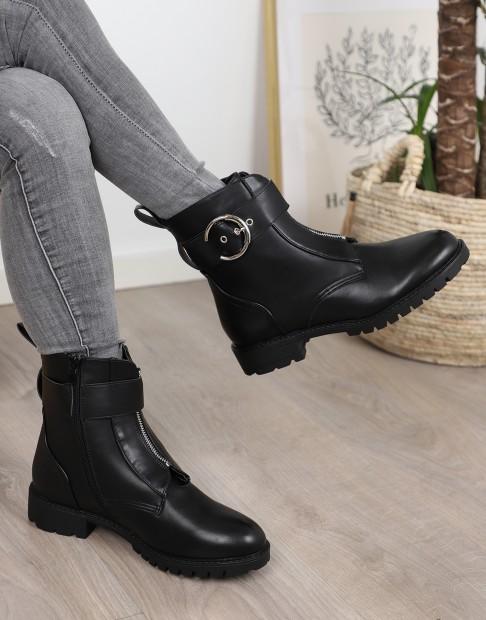 Bottines noires à boucle avec zip décoratif grandes tailles