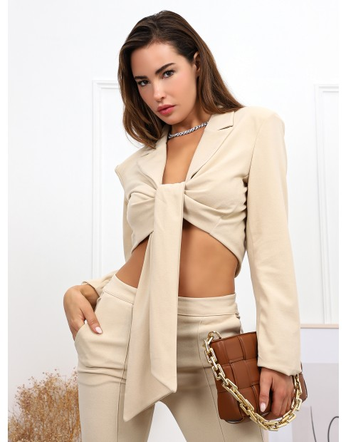 Veste blazer courte avec nœud