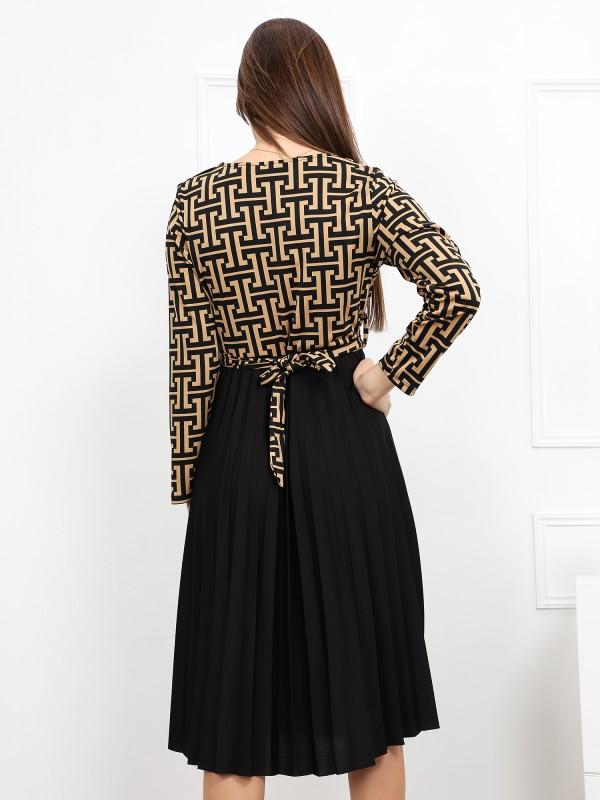Robe plissée à motifs