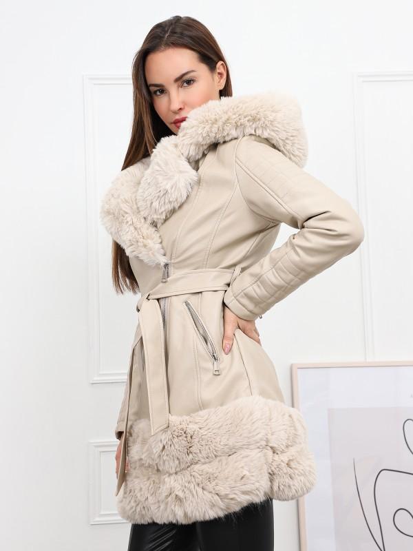 Manteau en simili cuir et fourrure