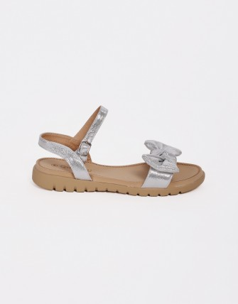 Sandales semelles confort à noeud - Argent