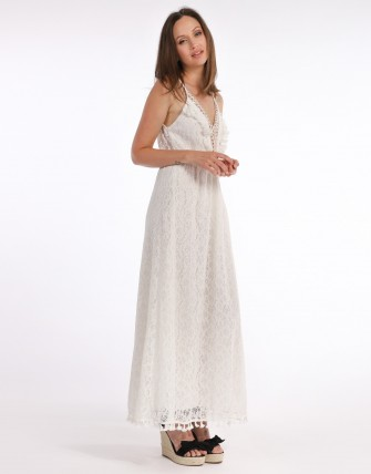 Robe longue dentelle - Blanc