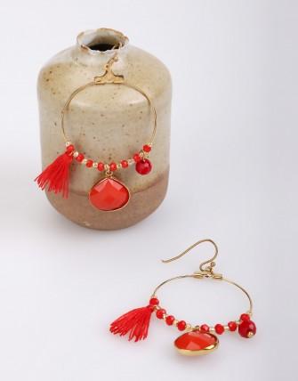 Boucles d'oreilles créoles et pendentif