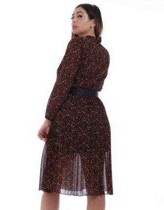 Robe plissée avec motif en fleurs - Noir/rouge