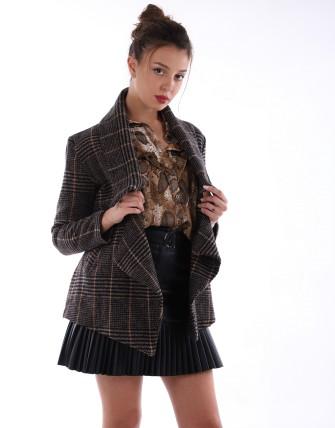Manteaux à carreaux ceinturé - Noir