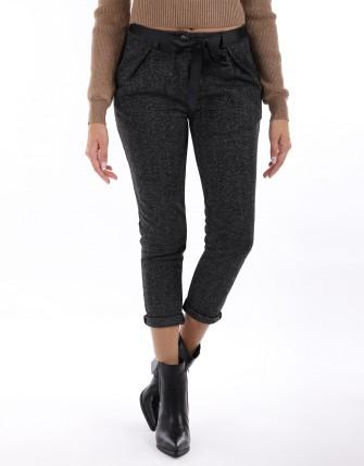 Pantalon coup carotte ceintures - Noir