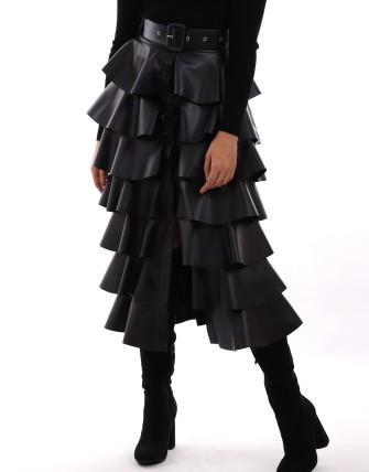 Jupes ceinture longues en volants - Noir