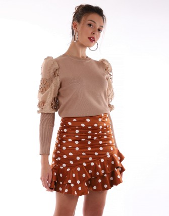 Pull manches bouffantes dentelle