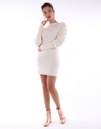 Robe pull manches bouffantes - Beige