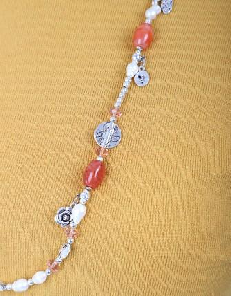 Collier avec pendentif tour de cou - Saumon