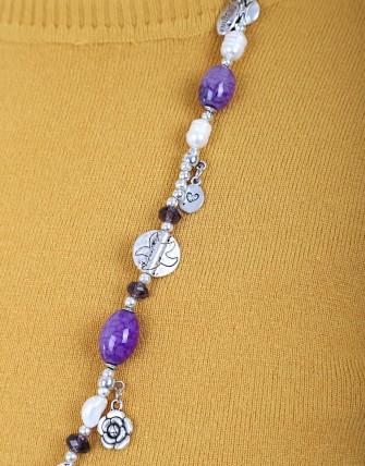 Collier avec pendentif tour de cou - Violet