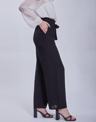 Pantalon large ceinturée - Noir
