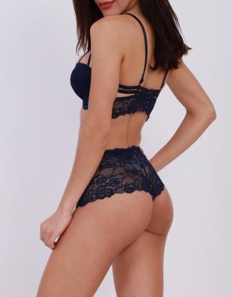 Ensemble lingerie avec shorty à dentelle - Bleu