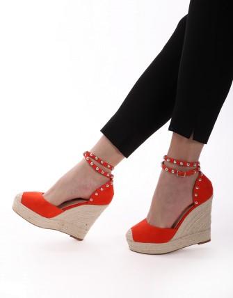 Sandales compensées - Orange