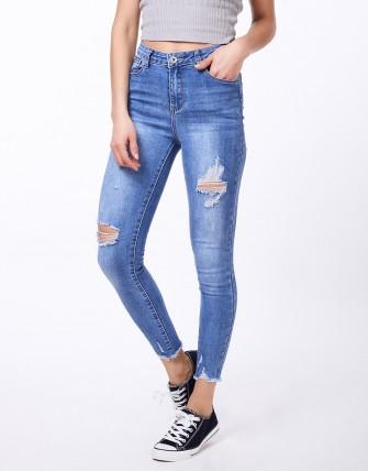 Jeans slim délavé   déchiré - Bleu