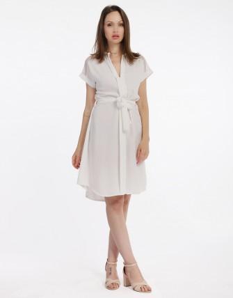 robe fluide col v - Blanc
