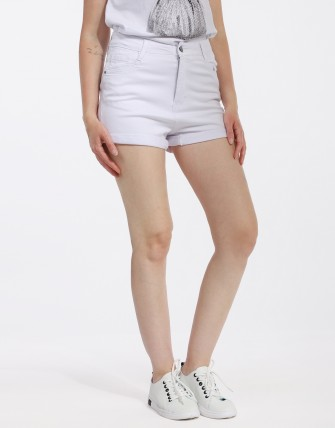 Short denim basic - Blanc