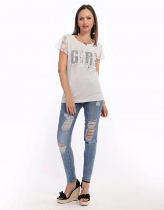 T - shirt imprimé strass - Gris