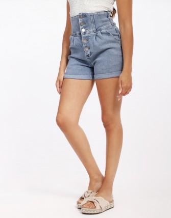 Short en jean taille haute - Bleu