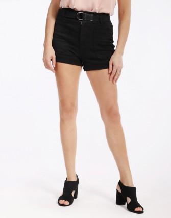 Short en jean avec ceinture - Noir