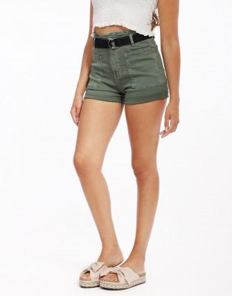 Short en jean avec ceinture - Kaki