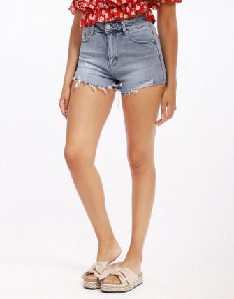 Short en jean déchiré - Bleu