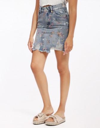 jupe en jeans imprimé fleuri-BLEU-XS
