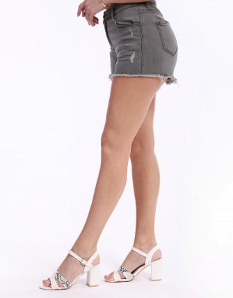 Short en jean déchiré effiloché - Gris