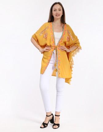 Kimono  brodé - Moutard