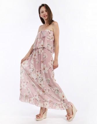 Robe fleurie avec épaules dénudées