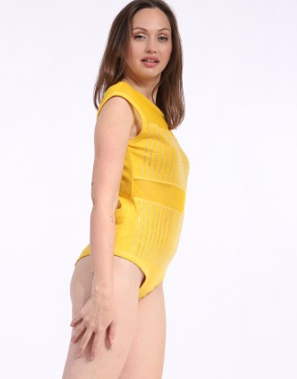 Body Femme avec empiècements résille strass - Jaune