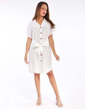 Robe chemise froncée à nouer - Blanc