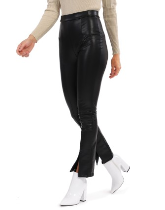 Pantalon fendu en pu - Noir