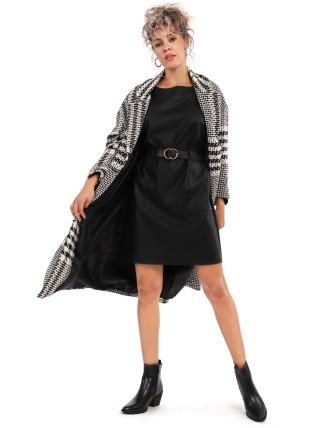 Manteau long oversize imprimé patchwork - Noir/blanc