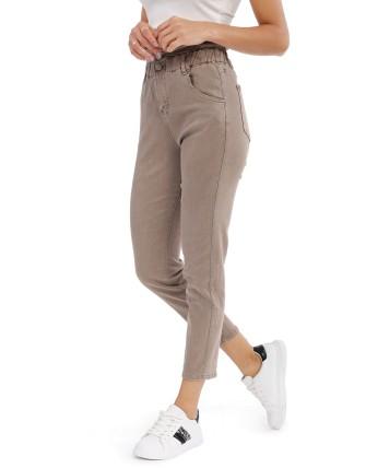 Jeans droit femme - Taupe