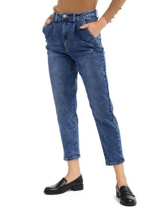 Jean à taille froncée avec poche - Bleu
