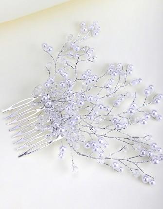 Accessoire à cheveux avec perles - Argent