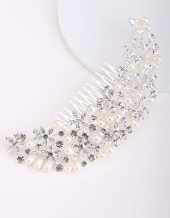 Accessoire à cheveux avec strass et perles - Argent