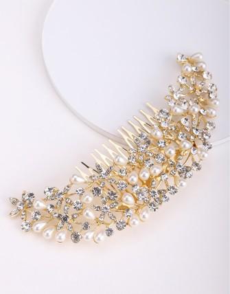 Accessoire à cheveux avec strass et perles - Or