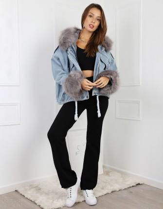 Blouson en jean avec fourrure amovible