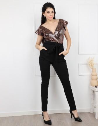 Combinaison pantalon col v manches courtes à volants