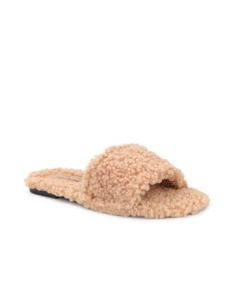 Nu-pieds en fourrure synthétique-TAUPE-36