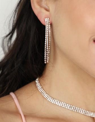 Parure collier et boucles d'oreilles   en strass-OR-TU