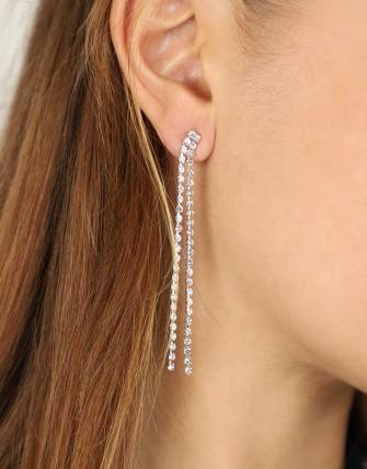 Collier boucles d'oreilles strass brillant-ARGENT-TU