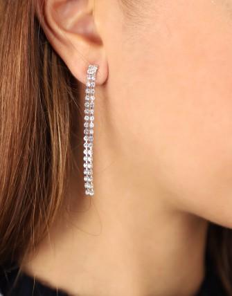 Collier boucles d'oreilles strass brillant-ARGENT/BLANC-TU