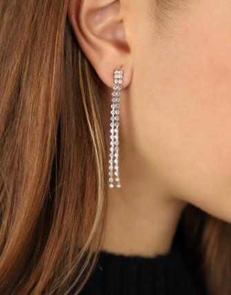 Collier boucles d'oreilles strass brillant-OR/BLANC-TU